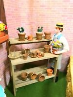 Dollhouse Miniature  Filled Aged Wooden Garden Potting Table (ONLY)