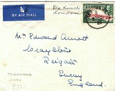 CEYLON Cover *Tebuwana* Scarce CDS Air Mail GB Surrey 1935{samwells-covers}LS80