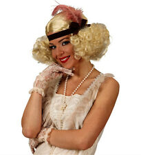 Ladies 20s 30s Blonde Curly Burlesque Wig Annie Headband Flapper Girl Fancy Dres