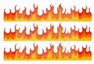 Flames Red Orange Yellow on Edible Cake Side Strips or Ribbon Icing Sheet Paper