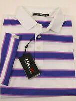 NWT $89 RALPH LAUREN Size L Men's S/S White Blue Striped RLX WICKING Polo Shirt