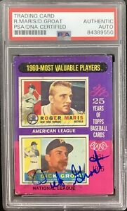 Roger Maris Signed 1975 Topps #198 NYY Baseball Card Dick Groat Auto GG PSA/DNA
