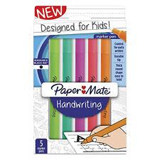 Paper Mate Handwriting Round Pens, Washable Black Ink, Fun Barrel Colors, 5 Pack