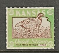 USA State Kansas Quail Hunting Cinderella revenue fiscal stamp 5-26-117 mnh gum