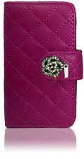 Quilted Designer Diamond Leather Book Flip Wallet Case Cover For Samsung Galaxy