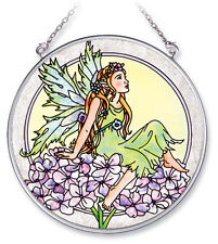 "Hydrangea Fairy Sun Catcher AMIA 4.5"" Round Hand Painted Glass New Flowers Green"