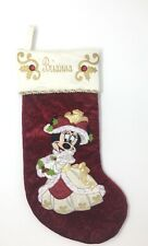 Disney Parks Holiday Collection Victorian Minnie Mouse Christmas Red Stocking