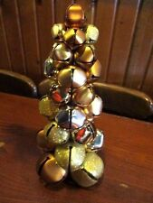 "12"" Metal Bells Christmas Tree Copper Sparkle Shiny Brush Gold Tone Decor Gerson"