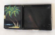 Rex 5th Ave Nor-Blu Miami Original Hand Painted Compact Cigarette Case ca 1950s