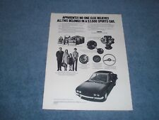 "1972 Fiat 124 Sport Coupe Vintage Ad ""..All this Belongs in a $3,600 Sports Car"""
