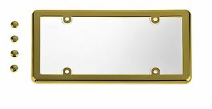 UNBREAKABLE Clear License Plate Shield Cover + GOLD Frame for SMART