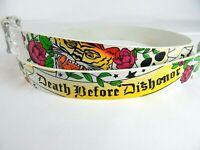 Mens White Skull Crossbones Tiger Roses Studded Leather Metal Buckle Belt New