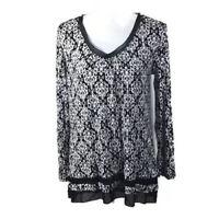 Anne Klein Womens Black Printed Long Sleeves Shirt Blouse Top Small NWT
