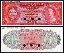 BELIZE 5 DOLLARS (P35sct) SPECIMEN COLOUR TRIAL QEII UNC