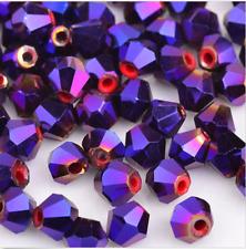 100pcs swarovski Crystal 4mm 5301# Bicone Beads plating Purple