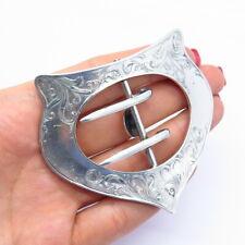 Sterling Etched Handmade Belt Buckle #2690 R. Blackinton & Co Antique Victorian