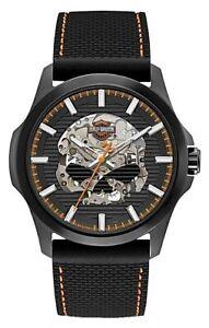 Harley Davidson Bulova 78A118 Willie G Skull Strap Men's Watch Box & Papers