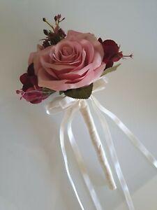 Artificial Pretty Bridal Wedding Flower Flowergirl Wand Silk Dusty Pink Roses