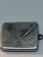 Antique c1902 Chester Sterling Silver Fob Stamp Case By Albert Ernest Jenkins