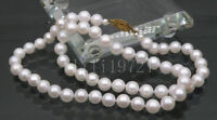 """23"""" AAA 6.5mm perfect round white akoya pearls necklace 14k gold clasp"""