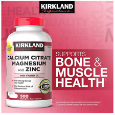 Kirkland Calcium Citrate 500 mg Magnesium and Zinc Vitamin D3 500 Tablets