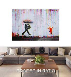 Framed canvas Rainbow Rain Man Graffiti mural wall decor Street Art joy life