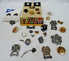 VINTAGE MILITARY LOT MEDALS PINS RIBBONS