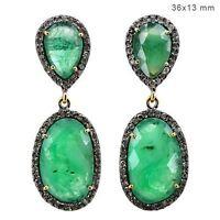 Emerald Gemstone 14 K Gold Diamond Pave Dangle Earrings Sterling Silver Jewelry