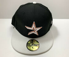 Houston Astros Cap Hat New Era 59Fifty Fitted Sz 7 1/4 Stitched Logo Black/White
