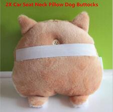 2X Novelty Cute&soft 3D Pet Dog Buttocks Car Headrest Seat Neck Cushion Winter