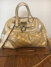 Pauls Boutique Nude Gold Glitter Quilted Padlock Shoulder Cross Body Hobo School
