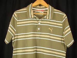 Puma Mens Short Sleeve Moss Green Beige White Stripe Polo Golf Shirt M