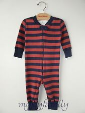 HANNA ANDERSSON Baby Organic Zip Sleeper Redwood Navy Stripe 90 3T 3 NWT