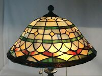 Vtg Stained Slag Glass Lamp Shade Arts & Crafts Mission Deco Tiffany Style 13.5""