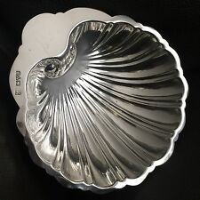 Antique Edwardian (1917) Chester Hallmarked Solid Silver Shell Shaped Salt Dish