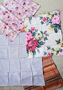 Vintage Lot of 4 Pieces Fabric Brown Plaid, Floral, Abstract Quilt