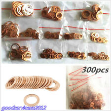 300 Pcs/Set Car/Plant Solid Copper Crush Washers Seal Flat Ring Gasket Universal