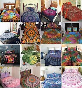 Indian Mandala Throw 100% cotton Queen Twin Size Bedding Bedspread / Blanket
