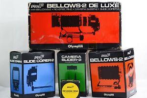 RARE OLYMPUS PEN F CAMERA BELLOWS-2 DE LUXE COMPLETE SET (MINT)