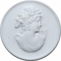 Medaille Meißen Porzellan weiß - Frauenkopf mit der Harfe - Signierte Medaillon
