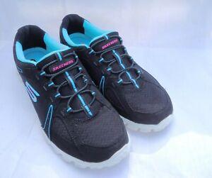 Skechers Women's 8 Flex Fusion Slip On Shoes Memory Foam Black Turquoise