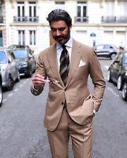 Hombre Marrón Trajes Elegante de Diseño Boda Novios Cena (Abrigo+Pantalones)