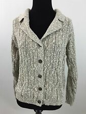 WOOLRICH S Cardigan Sweater Cable Knit Long Sleeve Beige Small Women's