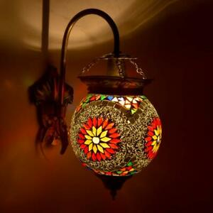 Indian Mosaic Decorated White Glass Wall Lamp Home Decoration Hanging lamp Art