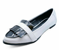 LADIES WHITE PATENT SLIP-ON FLAT FRINGE COMFY LOAFERS SMART WORK SHOES PUMPS 3-8