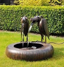 Metal Raven Bird Sculpture Water Fountain Garden Feature
