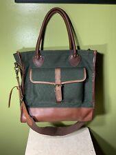 LL Bean Signature Leather Canvas Tote Shopper Bag Green Shoulder Weekend