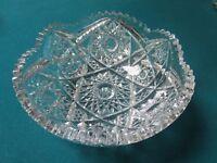 """AMERICAN BRILLIANT ROUND  bowl CRYSTAL CUT STARS DESIGN 3X8"""" [GL-1]"""