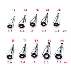 80pcs 10Sizes Steel Fishing Rod Pole Guide Tip Top Ring Eye Repair Kit BlacSEMO