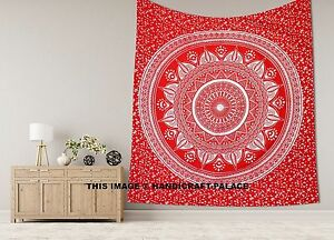 Silver Wall Hanging Hippie King Tapestry Red Mandala Printed Cotton Bed Coverlet